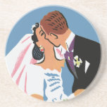 Retro Bride and Groom, You May Now Kiss the Bride Drink Coaster