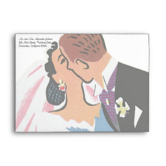 Retro Bride and Groom, You May Now Kiss the Bride Envelopes