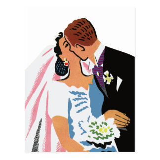 Retro Bride and Groom, You May Now Kiss the Bride Postcard
