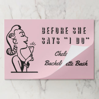 Retro Bride Bachelorette Hen Party Paper Placemat