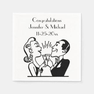 Retro Bride Groom Champagne Wedding Anniversary Standard Cocktail Napkin