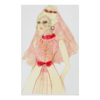 Retro Bride in Red and Pink Poster