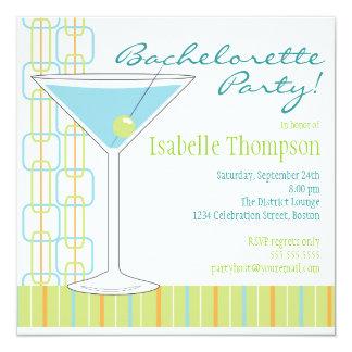Retro Bride Martini Bachelorette Party Invitation
