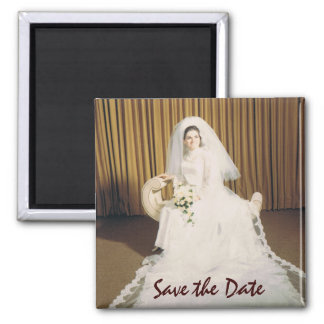 Retro Bride Save the Date 2 Inch Square Magnet