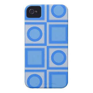 Retro Bright Blue Squares and Dots iPhone 4 Case