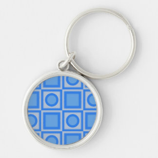 Retro Bright Blue Squares and Dots Silver-Colored Round Keychain