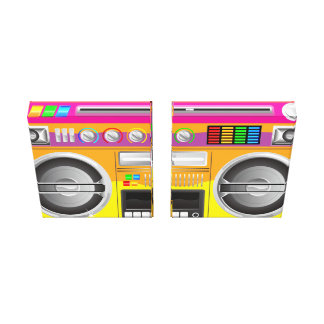 retro bright colors ghetto blaster boom box canvas print