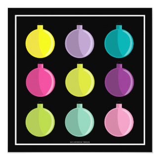 Retro Bright Ornaments Colorful Holiday Party Card