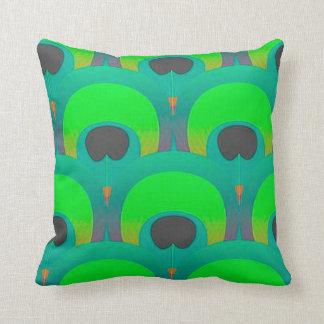 Retro Bright Peacock Illustration Throw Pillow