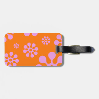 Retro Bright Pink And Orange Hippie Flowers Bag Tag