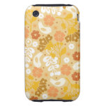 Retro Bright Yellow Flowers and Birds Case iPhone 3 Tough Cases