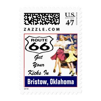 Retro Bristow Oklahoma OK Travel Route 66 Vintage Postage