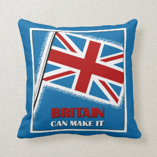 Retro Britain can make it square Throw Pillows