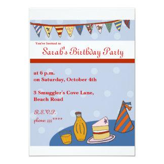 Retro  Brithday Party Invite with bunting