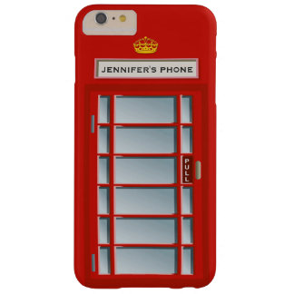 Retro British Telephone Booth Red Pattern Monogram Barely There iPhone 6 Plus Case