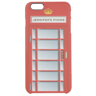 Retro British Telephone Booth Red Personalized Clear iPhone 6 Plus Case