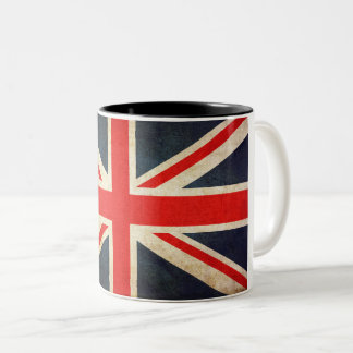 Retro British Union Jack Flag Two-Tone Coffee Mug