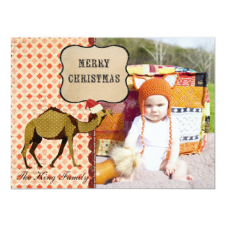 "Retro Bronze Camel Christmas Photo Card 6.5"" X 8.75"" Invitation Card"