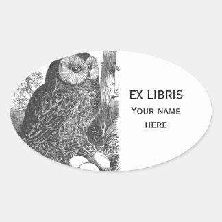 Retro brooding owl drawing bookplate oval sticker