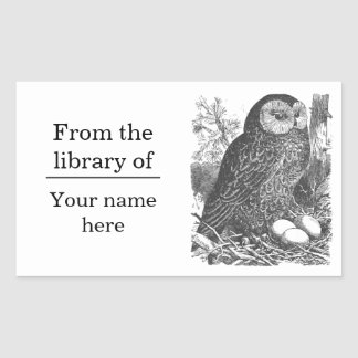 Retro brooding owl drawing bookplate rectangular sticker