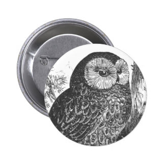 Retro brooding owl drawing button