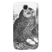 Retro brooding owl drawing galaxy s4 cover