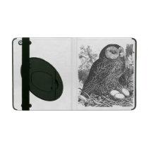 Retro brooding owl drawing iPad folio cases