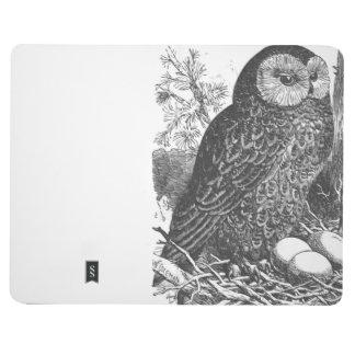 Retro brooding owl drawing journal