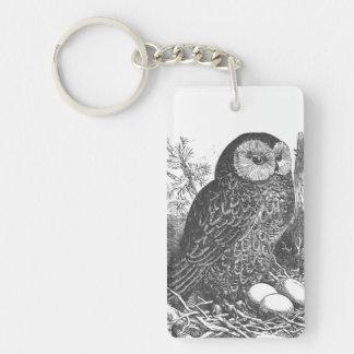 Retro brooding owl drawing keychain