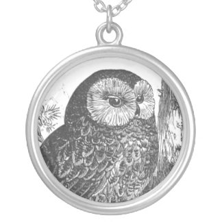 Retro brooding owl drawing silver plated necklace