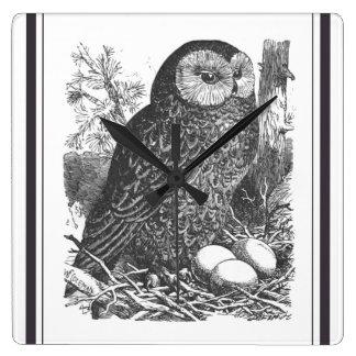 Retro brooding owl drawing square wall clock