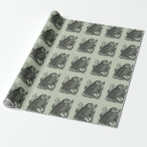 Retro brooding owl drawing wrapping paper