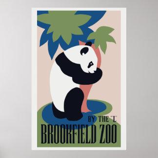 Retro Brookfield Zoo panda Poster
