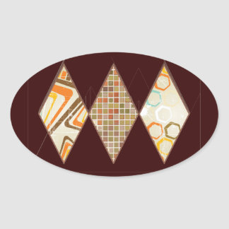 Retro Brown and Caramel Diamonds Oval Stickers