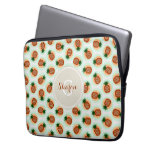 Retro brown and mint pineapple patterns monogram computer sleeves