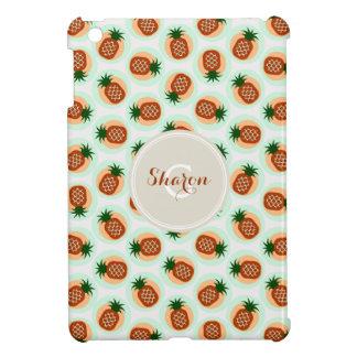 Retro brown and mint pineapple patterns monogram iPad mini cover
