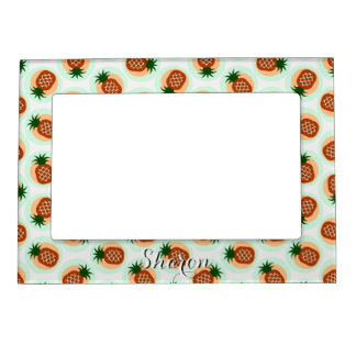 Retro brown and mint pineapple patterns monogram magnetic frame