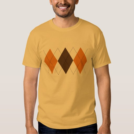 Retro Brown and Orange Argyle T-Shirt