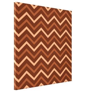 Retro Brown And Peach Chevron Pattern Zig Zag Canvas Print