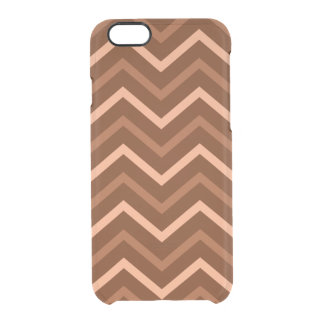 Retro Brown And Peach Chevron Pattern Zigzag Clear iPhone 6/6S Case