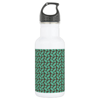 Retro Brown and Teal Pattern Water Bottle