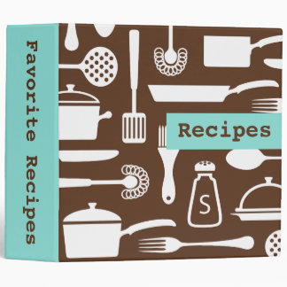 Retro brown aqua kitchen recipe binder organizer