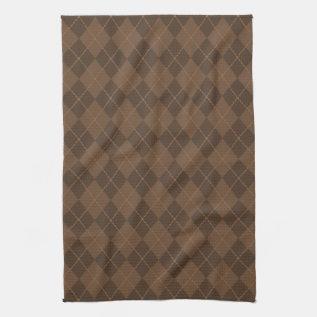Retro Brown Argyle Kitchen Towel at Zazzle