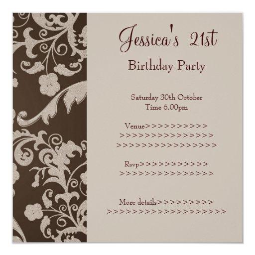 Retro Brown Beige Metallic Floral 21st Birthday 3 Invitation