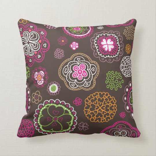 Retro brown flower blossom pattern pillow case