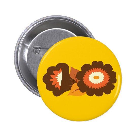 Retro Brown Flowers Button