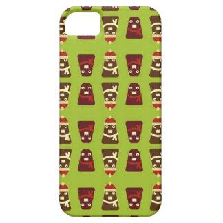 Retro brown & green kawaii monsters pattern iPhone SE/5/5s case
