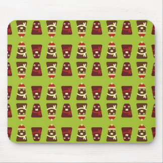 Retro brown & green kawaii monsters pattern mouse pad