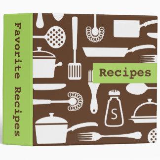 Retro brown green kitchen recipe binder organizer