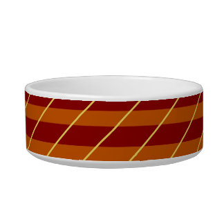 Retro Brown Orange Cream Diagonal Stripes Pet Bowl